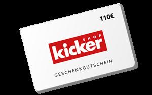 110 € kicker Shop-Gutschein <br> Zuzahlung 0,00 € <br> Der Shop bietet eine riesige Auswahl an Produkten rund um den Fussball. Den Gutschein in Höhe von 110 € können Sie jederzeit einlösen. <br>