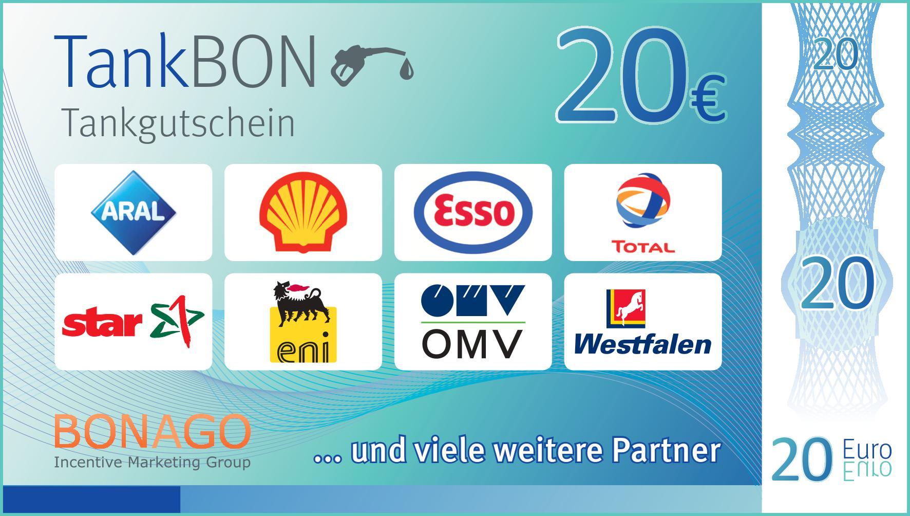 So macht Tanken Spaß: Sparen Sie 20 € bei Ihrem nächsten Tankstellenbesuch. Gutschein bundesweit für alle Kraftstoffe bei den abgebildeten Tankstellen gültig. Gutschein nur in Deutschland gültig.