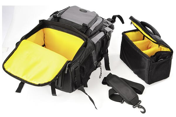 <ul><li>Raumwunder mit großem Fotofach, vielen Zusatzfächern, Getränkenetzen und praktischen Schlaufen für Zubehör<li>Variable Inneneinteilung: ausreichend Platz für eine DSLR-Kamera mit drei Objektiven plus Blitzgerät<li>Professionelles Schultergurtsystem für angenehmen Tragekomfort inklusive stützenden Becken- und Brustgurten<li>Zusätzliche Fototasche im unteren Fach kann separat verwendet werden<li>Aus wasserabweisendem Nylon<li>Inkl. Zusätzlicher Regenschutzhülle<li>Außenmaße: 31 x 52 x 28 cm, Innenmaße: 26 x 47 x 15 cm, Gewicht: 1.900 g<li><b>UVP: 179 &euro;</b></li><li>Zuzahlung nur 35 &euro;</li></ul>