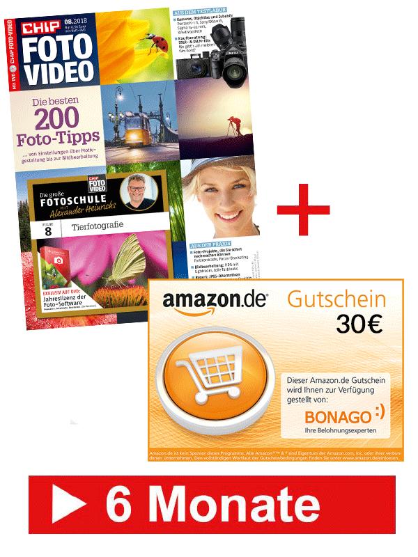 6 Monate CHIP FOTO-VIDEO mit DVD  + 30 € Amazon.de-Gutschein für nur 36,90 €