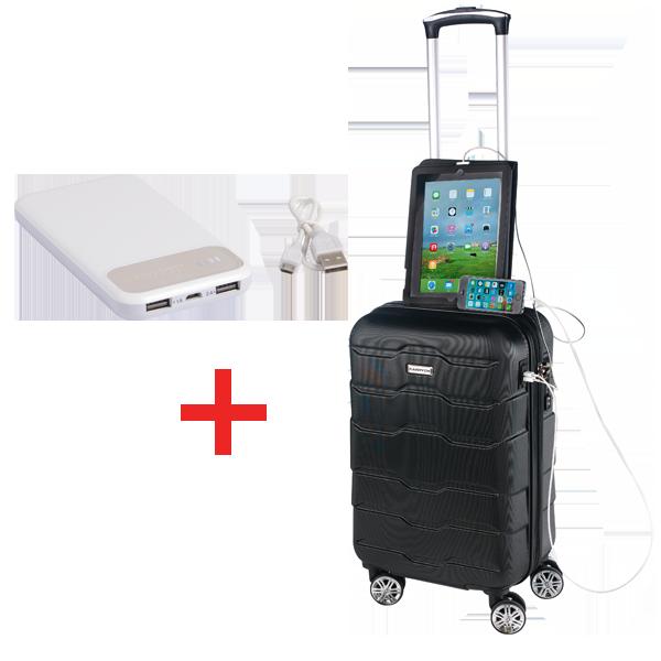 <li>Mit dem CarryOn Transfer Handgepäckfach sorgt ein Doppel-USB-Adapter dafür, dass Ihr Handy, Tablet, Musik oder Laptop jederzeit und überall aufgeladen werden kann (Powerbank inklusive)</li> <li>Auf der Innenseite befindet sich ein Fach für Ihre Powerbank und ein Anschluss fürden USB-Adapter</li>  <li>TSA-Zahlenschloss</li> <li>Maße: ca. 53 × 35 × 20 cm ? Gewicht: ca. 2,8 kg</li>  <li>Powerbank: Kapazität: 10.000 mAh, zwei USBAnschlüsse, inkl. USB-Kabel mit Micro-USBStecker (Länge: ca. 32 cm), leistungsstarker Akku</li> <li>Zuzahlung nur 1 &euro; inkl. MwSt.</li>