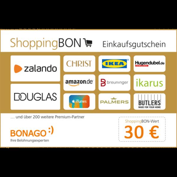 Der ShoppingBON ist einlösbar gegen Geschenkgutscheine unserer Partner aus dem Einzelhandel, wie z.B. Media Markt, IKEA, Saturn, Amazon.de, Otto, Douglas, Obi u.v.m.