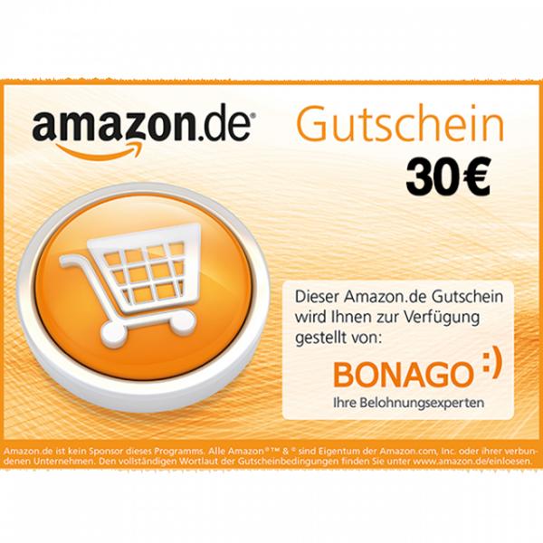 <b>30 € Amazon.de-Gutschein</b><br><br><ul><li>365 Tage im Jahr rund um die Uhr shoppen</li><br><li>riesige Auswahl aus Millionen Produkten</li><br><li>Bücher, CDs, DVDs, Games, Elektronik, Bekleidung, Schmuck, Spielzeug und vieles mehr</li></ul><br>Die vollständigen Gutscheinbedingungen finden Sie unter<a href='https://www.amazon.de/einloesen'>www.amazon.de/einloesen</a><br><br>Bitte geben Sie für den Versand Ihres Gutschein-Codes Ihre gültige E-Mail-Adresse an und beachten Sie Ihr E-Mail-Postfach.