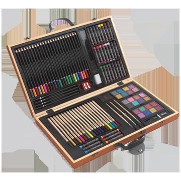 Holz-Malkasten mit Schnappverschlüssen und Tragegriffen, 88-teilig.<br> bestehend aus:<br>1 Holzkoffer (43 x 26 x 5 cm)<br>30 Wachsmalstifte<br>24 Buntstifte (schwarz eingefasst, oben farbig)<br>3 Farbpaletten mit je 8 Farben (insgesamt 24 verschiedene Farben)<br>4 Bleistifte (2 x HB + 2 x 2B)<br>18 Buntstifte (in Holz eingefasst, oben farbig)<br>3 Pinsel<br>2 Radiergummi<br>1 roter Anspitzer<br>1 schwarzer Tacker<br>1 kleines Schwämmchen<br>1 Lineal (15cm + 6 Inch)